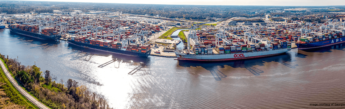 Image of port on the Georgia Coast, with shipping containers. Courtesy of Georgia Ports Authority.