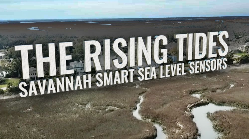 Graphic title for The Rising Tides, overlaid on an image of the Savannah coastline